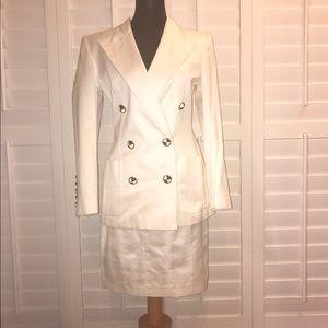 Escada suit white with black/white buttons sz 36